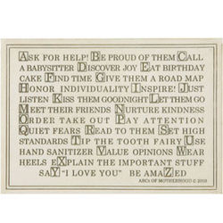 ABCs of Motherhood Plaque