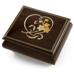 Warm Wood Musical Jewelry Box with Floral and Heart Inlay