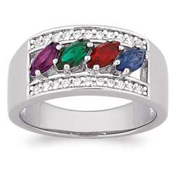 Sterling Silver Mother's Birthstone and Cubic Zirconia Ring