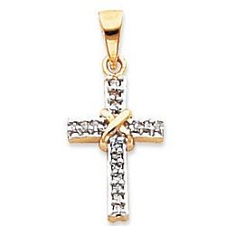 14K Yellow Gold Simple Elegance Diamond Cross Pendant