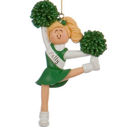 Personalized Green Cheerleader Christmas Ornament