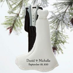 Bride and Groom Personalized Wedding Christmas Ornament