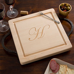Personalized Square Cutting Board with Serving Handles