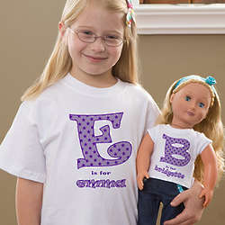 Personalized Alphabet Name Kid's and Doll Shirt Set