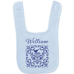 Elegant Design Personalized Blue Baby Bib