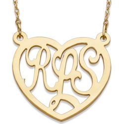 Large Gold-Plated Personalized Monogram Heart Necklace