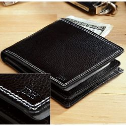 Black Leather Center Flap Personalized Bifold Wallet