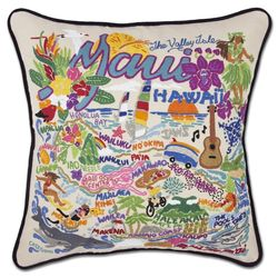 Hand-Embroidered Maui Pillow