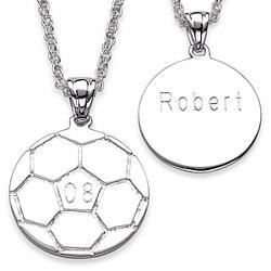 Sterling Silver Engraved Soccer Pendant