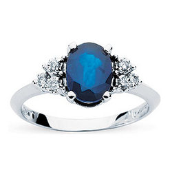 Diamond and Sapphire Ring in 10K White Gold