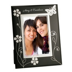 Black Glass Butterfly Photo Frame