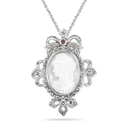 Garnet Marcasite Cameo Filigree Pendant in Silver