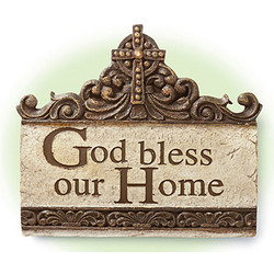 "Celtic Cross ""God Bless Our Home"" Plaque"