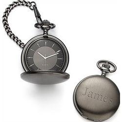 Personalized Satin Gunmetal Pocket Watch