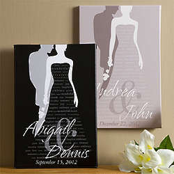Personalized Bride and Groom Wedding Art Canvas