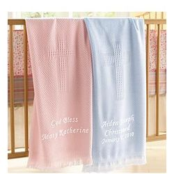 Personalized Woven Cross Baby Blanket