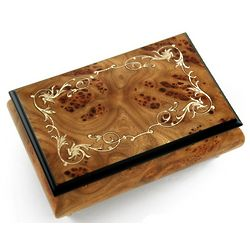 Wood Tone Music Box with Arabesque Inlay
