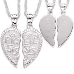 Sterling Silver Shareable Big Sis Lil Sis Engraved Pendant