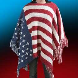 American Flag Knit Poncho