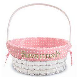 Personalized Pink Wicker Basket