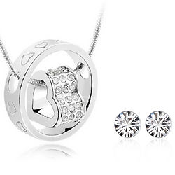 Eternal Love Ring Necklace with White Swarovski Earrings