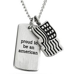 Flag Pendant and Dog Tag Necklace