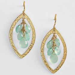 Green Chalcedony Gold Plated Drop Earrings