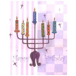 Happy Birthday Candelabra Personalized Art Print