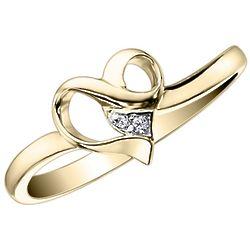 10K Yellow Gold Diamond Heart Promise Ring