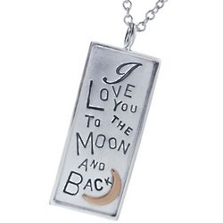 Personalized Silver & Gold I Love You to the Moon & Back Necklace