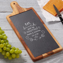Be Married Personalized Slate and Wood Paddle