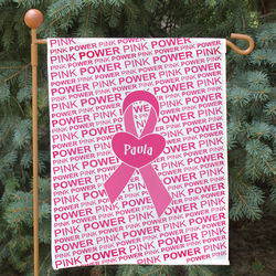 Personalized Breast Cancer Awareness Ribbon and Heart Garden Flag