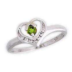 Peridot and Diamond White Gold Heart Ring