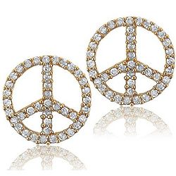 14K Gold Vermeil Cubic Zirconia Peace Stud Earrings