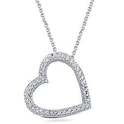 Diamond-Cut Heart Pendant in 14K White Gold