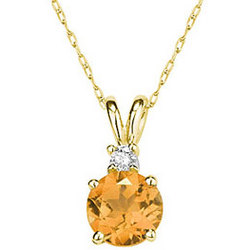 8mm Round Citrine and Diamond Stud Pendant in 14K Yellow Gold