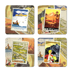 Vintage Travel Poster Coasters