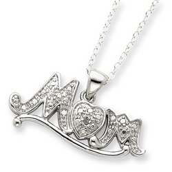 Sterling Silver and Diamond Mom Necklace