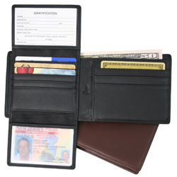 RFID Blocking Leather Bifold Wallet with Dual ID Windows