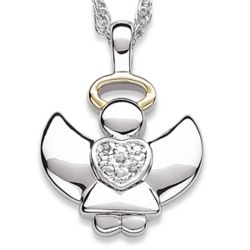 Two-Tone Angel Necklace with Diamond Accent