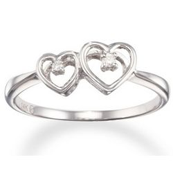 Double Heart and Diamond 14K Gold Promise Ring