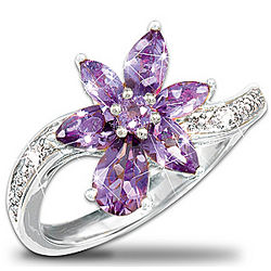 Amethyst and Diamond Orchid Ring
