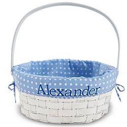 Personalized Blue Wicker Basket