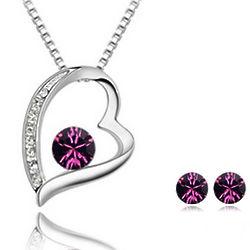 Purple Swarovski Heart Pendant and Earrings