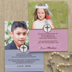 Custom Photo First Communion Thank You Cards