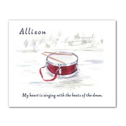 Little Drummer Watercolor Personalized Art Print