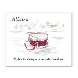 Little Drummer Watercolor Personalized Art Print