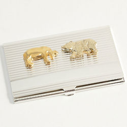 Silver-Plated Striped Stock Market Business Card Case