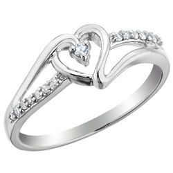Sterling Silver Diamond Heart Promise Ring