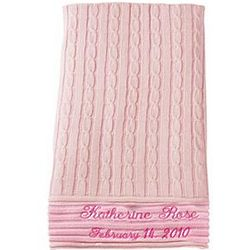 Personalized Pink Cable Baby Blanket